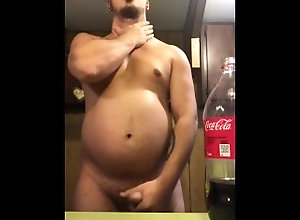 gainer;belly-play;bloating,Fetish;Solo Male;Gay;Bear;Chubby Coke and mentos...