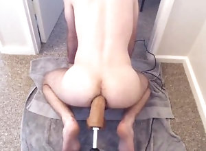 dildo;fuck;machine;anal;gape;moan,Twink;Solo Male;Gay 12 Inch Dildo...
